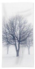 Winter Trees In Fog Bath Towel