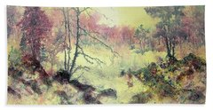 Hand Towel featuring the painting Woods And Wetlands by Carolyn Rosenberger