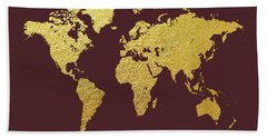 World Map Gold Foil Hand Towel