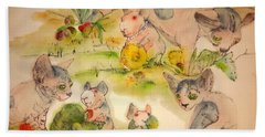 Bath Towel featuring the painting World Of Guinea Pigs And Naked Cats Album by Debbi Saccomanno Chan