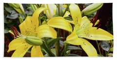 Bath Towel featuring the photograph Yellow Lily by Elvira Ladocki