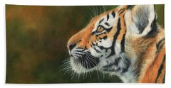 Bath Towel featuring the painting Young Amur Tiger  by David Stribbling