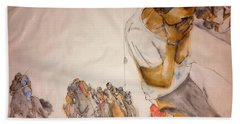 Bath Towel featuring the painting Il Palio Contrada  Lupa Album by Debbi Saccomanno Chan
