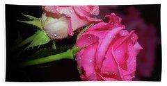 Two Roses Bath Towel by Elvira Ladocki