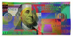 2009 Series Pop Art Colorized U. S. One Hundred Dollar Bill No. 1 Bath Towel