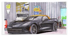 Bath Towel featuring the painting 2014 Corvette And Man Cave Garage by Jack Pumphrey