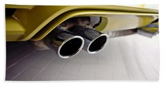 Hand Towel featuring the photograph 2015 Bmw M4 Exhaust by Aaron Berg