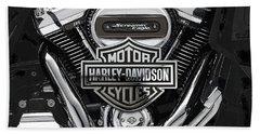 Bath Towel featuring the digital art 2017 Harley-davidson Screamin' Eagle Milwaukee-eight 114 Engine With 3d Badge by Serge Averbukh
