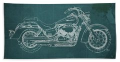 2018 Honda Shadow Aero Abs Blueprint Ghreen Background Gift For Bikers Hand Towel