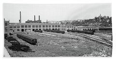 Hand Towel featuring the photograph 207th Street Railyard by Cole Thompson