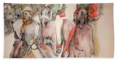 Hand Towel featuring the painting Il Palio Contrada  Lupa Album by Debbi Saccomanno Chan