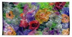 Hand Towel featuring the painting 21a Abstract Floral Painting Digital Expressionism by Ricardos Creations