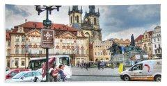 Hand Towel featuring the pyrography  Praha by Yury Bashkin