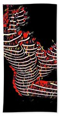 2450s-mak Lined By Light Nude Woman Rendered As Abstract Oil Painting Hand Towel