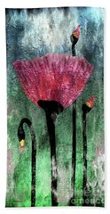 24a Abstract Floral Painting Digital Expressionism Bath Towel