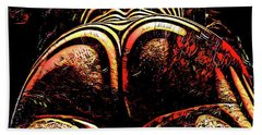 Hand Towel featuring the digital art 2574s-res Zebra Striped Booty Rendered As Abstract Oil Painting by Chris Maher