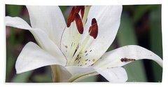 White Lily Bath Towel by Elvira Ladocki