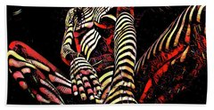 Hand Towel featuring the digital art 2669s-ak Squatting Nude Rendered As Abstract Painting by Chris Maher