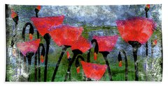 26a Abstract Floral Red Poppy Painting Hand Towel