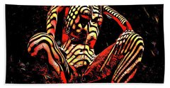 Hand Towel featuring the digital art 2761s-ak Abstract Painting Rendered Of Squatting Nude Zebra Striped Woman by Chris Maher