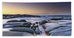 Sunrise Seascape And Rock Platform Hand Towel