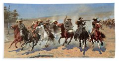 A Dash For The Timber Hand Towel by Frederic Remington