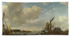 A River Scene With A Dutch Yacht Firing A Salute Hand Towel