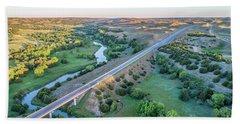 aerial view of Dismal River in Nebraska Bath Towel