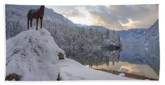 Bath Towel featuring the photograph Alpine Winter Reflections by Ian Middleton