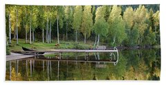 Birches And Reflection Hand Towel by Aivar Mikko