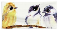 Hand Towel featuring the painting 3 Birds On A Branch by Dawn Derman