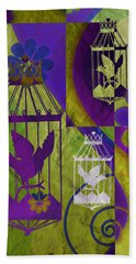 3 Caged Birds Hand Towel