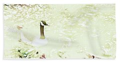 Canada Goose On A Stream In Autumn Hand Towel