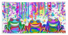 Hand Towel featuring the painting 3 Colorful Painted Frogs by Nick Gustafson