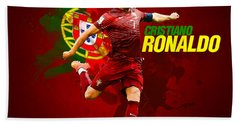 Cristiano Ronaldo Hand Towel by Semih Yurdabak