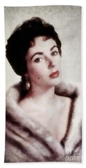 Elizabeth Taylor, Vintage Actress By Js Hand Towel