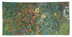 Farm Garden With Sunflowers Hand Towel