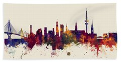 Hamburg Germany Skyline Bath Towel