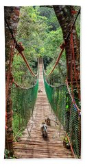 Hand Towel featuring the photograph Hanging Bridge by Alexey Stiop
