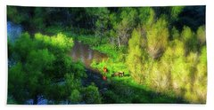 3 Horses Grazing On The Bank Of The Verde River Bath Towel
