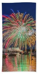 Independence Day Fireworks In Boothbay Harbor Bath Towel