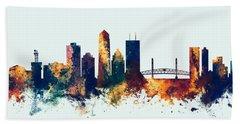 Jacksonville Florida Skyline Hand Towel