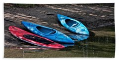 Hand Towel featuring the photograph 3 Kayaks by Linda Bianic