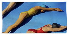 Bath Towel featuring the photograph 3 Lady Swimmers by Joan Reese