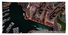 Majestic Colorful Dubai Marina Skyline During Night. Dubai Marina, United Arab Emirates. Bath Towel