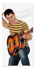Man Playing The Guitar Hand Towel