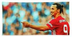 Manchester United's Zlatan Ibrahimovic Celebrates Hand Towel