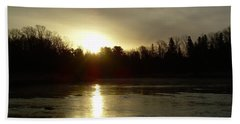 Hand Towel featuring the photograph Mississippi River Sunrise Reflection by Kent Lorentzen