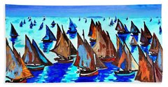 Monet Fishing Boats Calm Seas Hand Towel