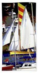 Oyster Boats Bath Towel